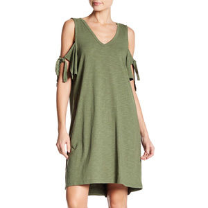 Lakeside Cotton Tie-Sleeve Cold-Shoulder Dress
